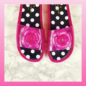 Kate Spade Jelly Sandals Barbie Pink Polka Dot